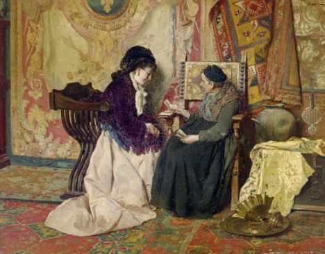 The Fortune Teller by c. 1890s - Cesare Maccari (Italian, 1840-1919)